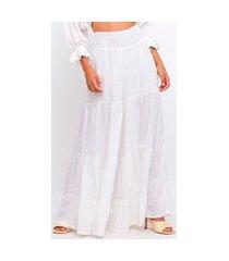 calça elora ampla camadas feminina branco