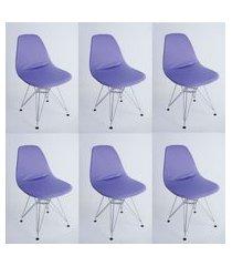 kit com 06 capas para cadeira eiffel charles eames wood lilas