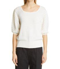 women's merlette cala puff sleeve merino wool sweater, size small - white
