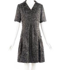 oscar de la renta gray wool tweed shirt dress gray sz: l