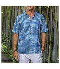 men's batik linen and cotton blend shirt, 'indigo stripes' (indonesia)