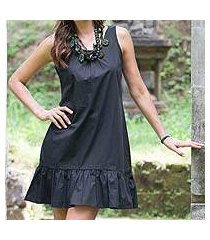 cotton shift dress, 'black gardenia' (indonesia)