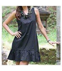 cotton shift dress, 'black gardenia' (indonesia)
