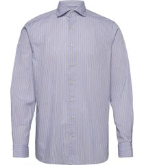 soft sky blue & brown striped lightweight twill shirt overhemd casual blauw eton