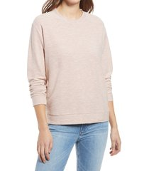women's lou & grey otis cotton blend sweatshirt, size x-small - pink