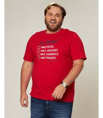 camiseta check list em meia malha wee! vermelho - p