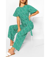 diasy print short sleeve jumpsuit, green