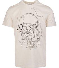 alexander mcqueen man beige sketchbook skull t-shirt