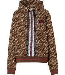 burberry monogram stripe print cotton oversized hoodie - brown