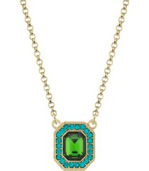 2028 gold-tone crystal octagon pendant necklace