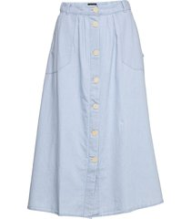 chambray skirt knälång kjol blå lee jeans