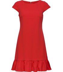 ss ruffle hem dress korte jurk rood calvin klein