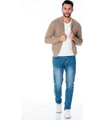 suéter tejido beige para hombre con cremallera y bolsillos laterales