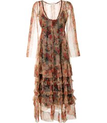 molly goddard tiered floral print tulle dress - multicolour