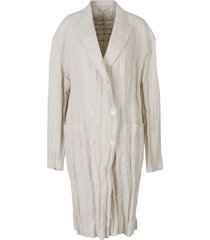 creased linen trench coat