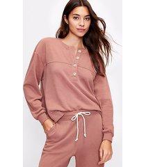 loft lou & grey cozy cotton terry henley sweatshirt