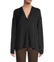 vince women's rib trim double v-neck silk blouse - black - size xxs