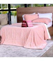 cobertor slim peles casal com porta travesseiro açucena - tessi