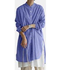 camicetta casual allentata a maniche lunghe con bottoni a righe per donna