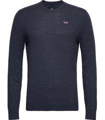 hco. guys sweaters stickad tröja m. rund krage blå hollister