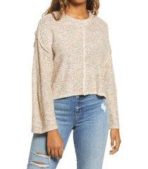 women's billabong sitting pretty crop pullover, size medium - beige