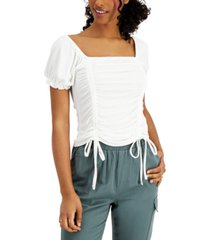 crave fame juniors' ruched square-neck top