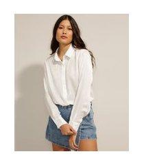 camisa acetinada manga longa off white