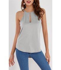 yoins basics gris diseño camiseta con corte en el pecho