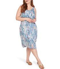 plus size women's nic+zoe toucan sleeveless dress, size 3x - blue