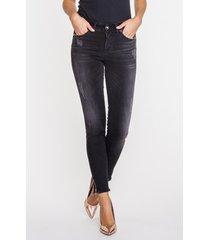 antracytowe, przecierane jeansy z frędzlami pamela