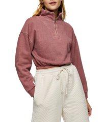 petite women's topshop acid wash zip funnel neck crop sweatshirt