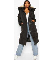 lang longline gevoerde jas van imitatiebont met capuchon, zwart