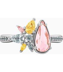 anello botanical, multicolore chiaro, placcato rodio