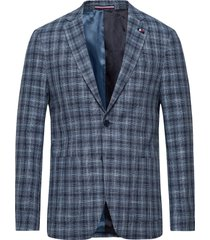 cotton blend slim fi blazer colbert blauw tommy hilfiger tailored