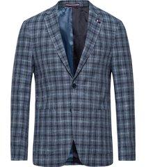cotton blend slim fit check blz blazer colbert blauw tommy hilfiger tailored