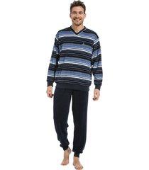 heren pyjama badstof robson 27212-706-2 blauw-3xl/58