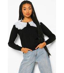 2-in-1 trui met geweven kraag, black