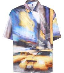 multicolored taxi baseball shirt