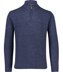 portofino trui donkerblauw met rits in kraag
