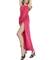 women's bardot zadie ruched column gown, size large - pink
