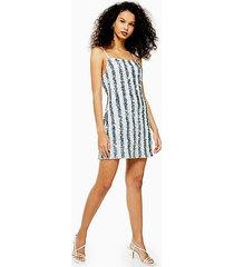 pinstripe sequin slip dress - silver