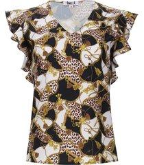 blusa cadenas arandelas color negro, talla 6