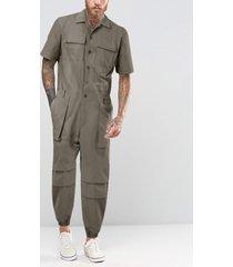 monos delanteros con botones para hombre, monos de manga corta con múltiples bolsillos, ropa de trabajo, monos