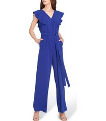 women's tahari wide leg jumpsuit, size 14 - blue
