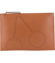 bonpoint perforated cherry clutch bag - brown