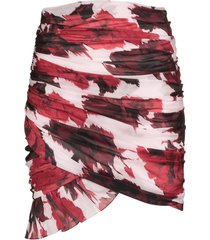 alexandre vauthier floral print ruched skirt - red