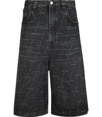 5 pocket logo denim bermuda shorts