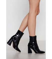 womens flare patent faux leather bootie - black