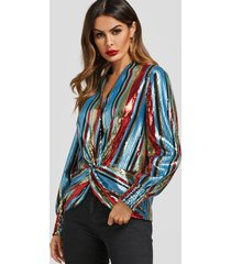 colorful top drapeado de rayas con lentejuelas