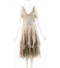 rodarte gold metallic sequin tiered lace dress gold sz: m
